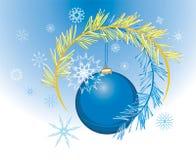 Schneeflocke- und Weihnachtskugel. Feiertagshintergrund stock abbildung
