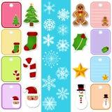 Schneeflocke-und Weihnachtspapiermarke/Aufkleber Stockbilder