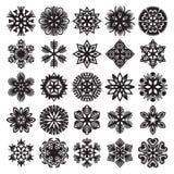 Schneeflocken auf Blau Schwarzes auf Weiß Set 2 Lizenzfreie Stockfotografie