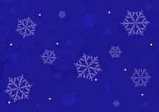 Schneeflocken auf einem blauen Hintergrund stock abbildung