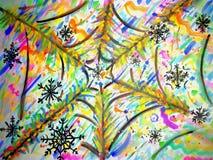 Schneeflocken auf einem bunten spiderweb stockfoto
