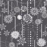 Schneeflocken auf nahtlosem Muster des grauen Feiertags Stockbilder