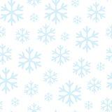 Schneeflocken auf nahtlosem Muster des weißen Hintergrundes vektor abbildung