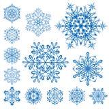 Schneeflocken auf Weiß Stockfoto