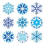 Schneeflocken, blaue Ikonen des Winters eingestellt Stockbilder