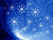 Schneeflocken in der magischen Leuchte Stockbilder