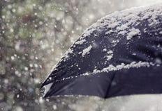 Schneeflocken, die auf Regenschirm fallen Stockfotografie