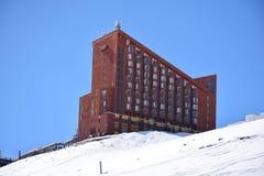 Schneeflocken an einem Skiort in Santiago, Chile Lizenzfreies Stockfoto