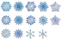 Schneeflocken für Auslegunggestaltungsarbeit Winterelemente Blaue Schneeflocken auf weißem Hintergrund Stockbilder