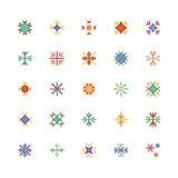 Schneeflocken farbige Vektor-Ikonen 2 Stockfotos