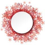 Schneeflocken hinter weißem leerem Rahmen vektor abbildung