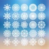 Schneeflocken-Ikonen eingestellt Stockfoto