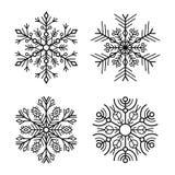 Schneeflocken-Ikonen eingestellt auf weißen Hintergrund Vektor lizenzfreie abbildung
