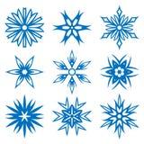 Schneeflocken lokalisiert auf Weiß Auch im corel abgehobenen Betrag Lizenzfreies Stockfoto