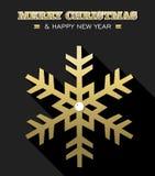 Schneeflocken-Schneekarte des neuen Jahres der frohen Weihnachten Gold Stockfotos
