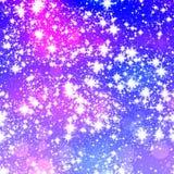 Schneeflocken/Sterne auf blauem Hintergrund Lizenzfreies Stockfoto