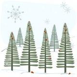 Schneeflocken und Bäume Lizenzfreies Stockbild