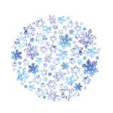 Schneeflocken und Eis - Weihnachtskreishintergrund im Aquarell Vektor Abbildung