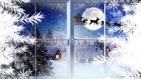 Schneeflocken und Fenster mit Sankt und Renfliegen im Winter stock abbildung
