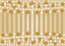 Schneeflocken und goldene Sterne Stockbild
