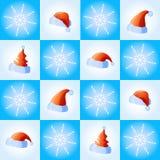 Schneeflocken und Hüte lizenzfreie abbildung