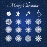 Schneeflocken und heiraten Weihnachtssatz Lizenzfreies Stockbild