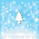 Schneeflocken und weißer Weihnachtsbaum Stock Abbildung