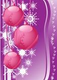 Schneeflocken und Weihnachtskugeln Stockbild