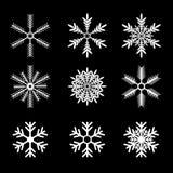 Schneeflocken vector Set weißer Schneeflocken-Ikonensatz Stockfotografie