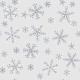 Schneeflocken von verschiedenen Arten auf einem Hintergrund des Graus, Muster stock abbildung
