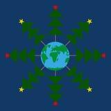 Schneeflocken-Weihnachtsbäume um die Erde Dunkelblauer Hintergrund Abstrakter Schneeflocke Planet Lizenzfreies Stockbild