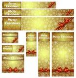 Schneeflocken-Weihnachtsgoldnetz-Fahnen Stockbilder