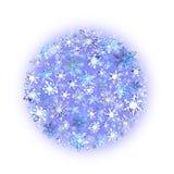 Schneeflocken Weihnachtskreishintergrund Winteraquarell Lizenzfreie Abbildung