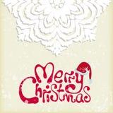 Schneeflockenhintergrund der frohen Weihnachten Stockfoto