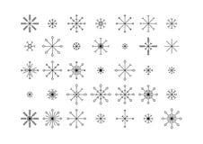 Schneeflockenikonen eingestellt lokalisiert auf weißem Hintergrund stockfotografie