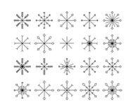 Schneeflockenikonen eingestellt lokalisiert auf weißem Hintergrund lizenzfreies stockbild