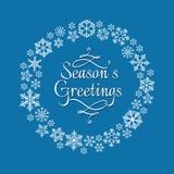 Schneeflockenkranz für Weihnachtseinladung lizenzfreie abbildung