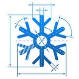 Schneeflockensymbol mit Maßlinien Lizenzfreies Stockfoto