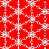 Schneeflockenvektormuster auf Rot Stockfotos