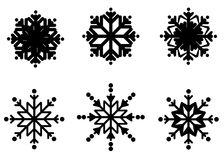Schneeflockenvektorsymbol, Winterfrostzeichen stellte, Feiertagsdekoration ein Stockbild