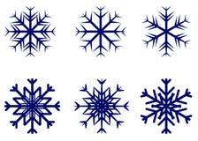 Schneeflockenvektorsymbol, Winterfrostzeichen stellte, Feiertagsdekoration ein Stockfoto