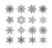 Schneeflockenwinter Satz der Flocke des Schnees auf weißem Hintergrund stock abbildung