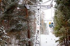 Schneegebirgsdrahtseilbahn, Elbrus, Russland Lizenzfreies Stockfoto