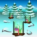 Schneeglöckchen abgedeckt und durch Kerzen erhitzt stock abbildung