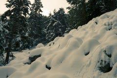 Schneehügel in Schwarzem u. in weißem Lizenzfreies Stockfoto