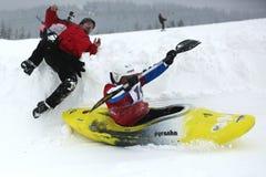 Schneekajakunfall Stockfotografie