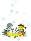 Schneekaninchen und -kinder Stockbild