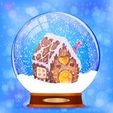 Schneekugel mit Lebkuchenhaus-Vektorhintergrund Stockfotos