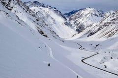 Schneelandschaft in Los Penitentes, Argentinien stockbild