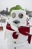 Schneemänner gegen die globale Erwärmung Stockbilder